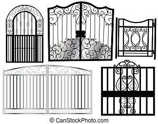 black ornament gate on white background