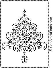 Black ornamental Christmas tree