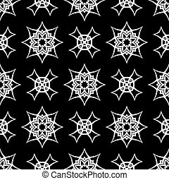 Black Ornamental Seamless Line Pattern
