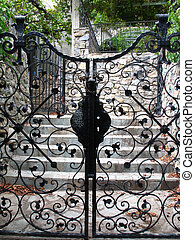 Black ornamented gates