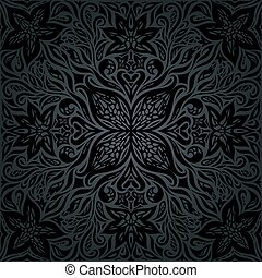 Black ornate Flowers Floral decorative vintage Background