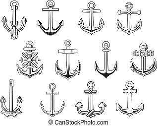 Black outline anchor design elements - Vintage anchor...