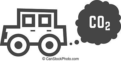 black outline car emits carbon dioxide