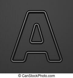 Black outline font Letter A 3D illustration on black background