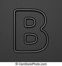 Black outline font Letter B 3D illustration on black background