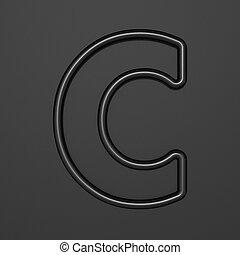 Black outline font Letter C 3D illustration on black background