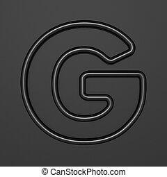 Black outline font Letter G 3D illustration on black background