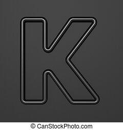 Black outline font Letter K 3D illustration on black background