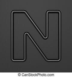 Black outline font Letter N 3D illustration on black background