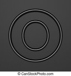 Black outline font Letter O 3D illustration on black background