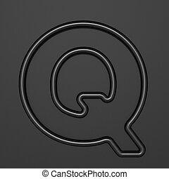 Black outline font Letter Q 3D illustration on black background