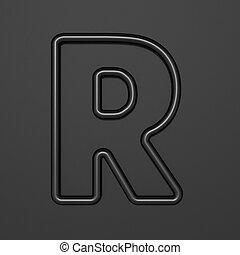 Black outline font Letter R 3D illustration on black background