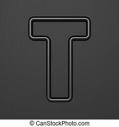 Black outline font Letter T 3D illustration on black background