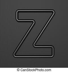 Black outline font Letter Z 3D illustration on black background