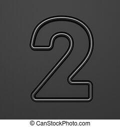 Black outline font Number 2 TWO 3D illustration on black background
