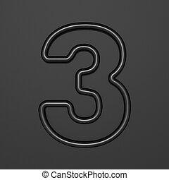 Black outline font Number 3 THREE 3D illustration on black background