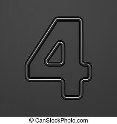 Black outline font Number 4 FOUR 3D illustration on black background