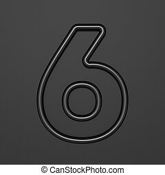 Black outline font Number 6 SIX 3D