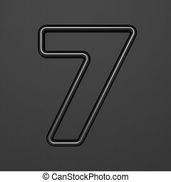 Black outline font Number 7 SEVEN 3D illustration on black background
