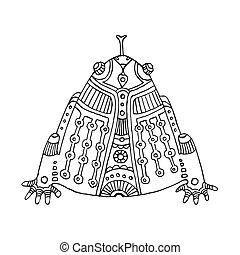 black outline hand drawn aztec frog