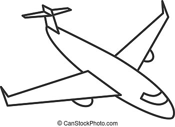 Black outline isolated airplane on white background. Line side view of aeroplane.