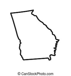 black outline map of Georgia (US state) - vector illustration