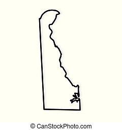 black outline of Delaware map- vector illustration