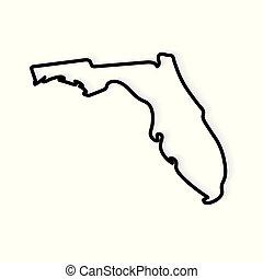 black outline of Florida map- vector illustration