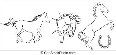 black outline of horses