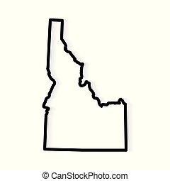 black outline of Idaho map- vector illustration