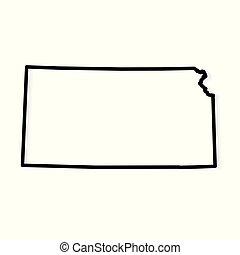 black outline of Kansas map- vector illustration