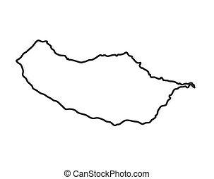 black outline of Madeira map - vector illustration