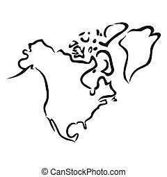 Black outline of North America - Black abstract outline of...