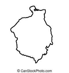 black outline of Romania map- vector illustration