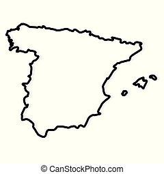 black outline of Spain map- vector illustration