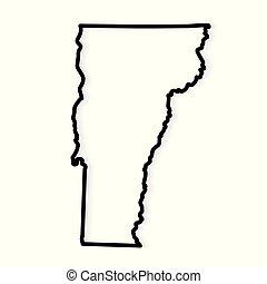 black outline of Vermont map- vector illustration