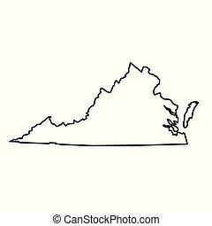 black outline of Virginia map - vector illustration