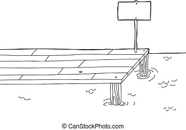 Hand drawn cartoon pier with sign in black