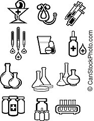 Black outline sketch icons of medicine and drugs
