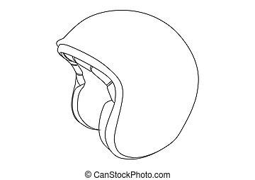 Black outline sports helmet on white background