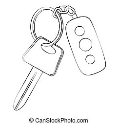 Car key - Black outline vector Car key on white background.