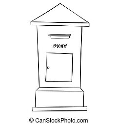 Postbox - Black outline vector Postbox on white background.