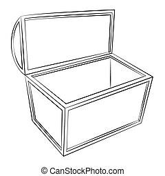 Treasure chest - Black outline vector Treasure chest on...