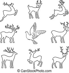 Black outlined deer set
