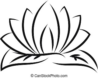 Black outlines of lotus vector illustration on white background