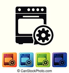 Black Oven and gear icon isolated on white background. Adjusting app, service concept, setting options, maintenance, repair, fixing. Set icon in color square buttons. Vector Illustration