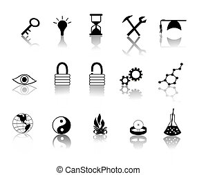 Black over White Miscillaneous Icons - various black over...