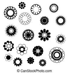 black , overlapping, kroonbladen, bloem