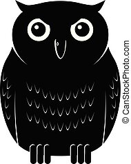 Black owl front view vector