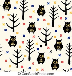 Black Owl Halloween pattern